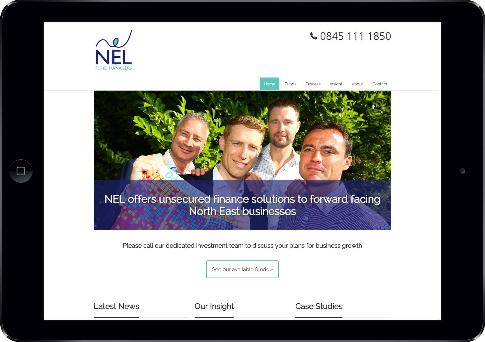 Screenshot of the NEL Fund Managers Website